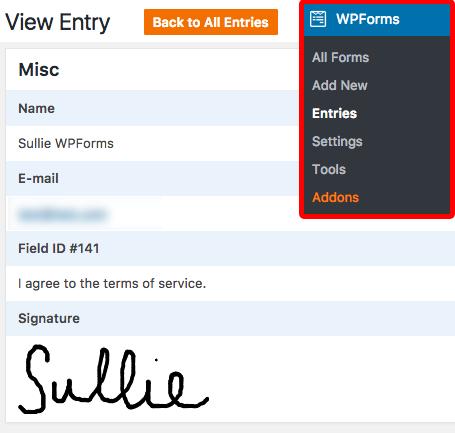 wpforms signature entry