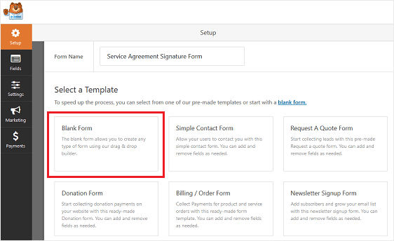 This image shows how you can create blank forms in wordpress