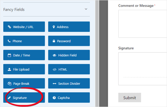 This image shows how you can add signature field to your existing or new forms