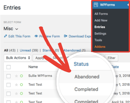 How to check abandoned form entries in WPForms for WordPress