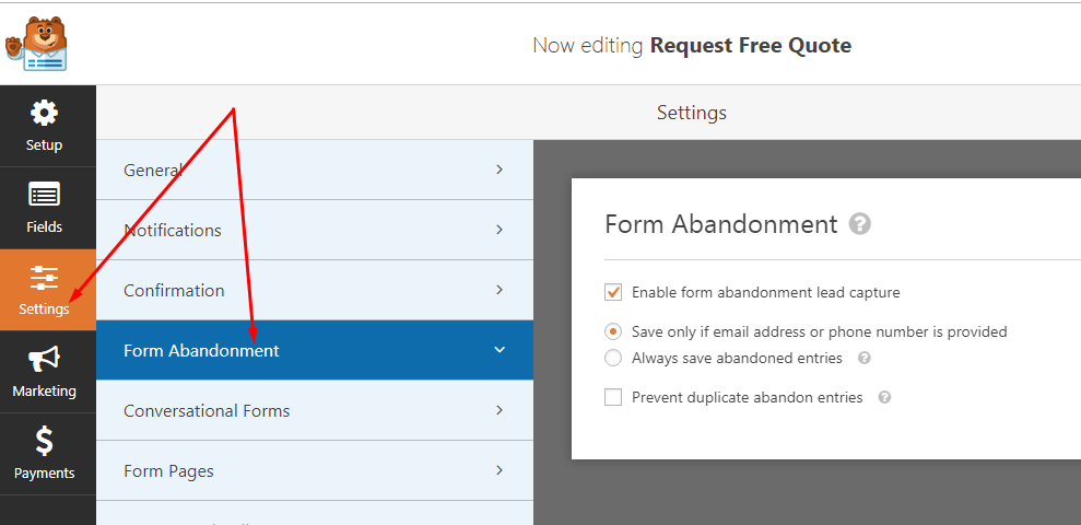 How to enable form abandonment feature in the wpforms plugin for wordpress