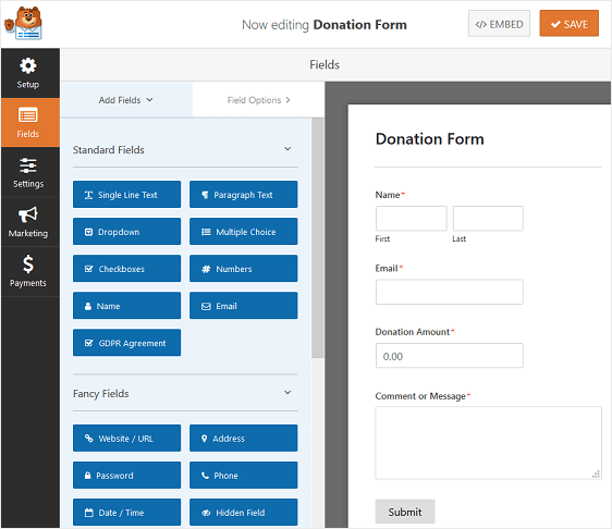 set up donation form for recurring payment on wordpress.