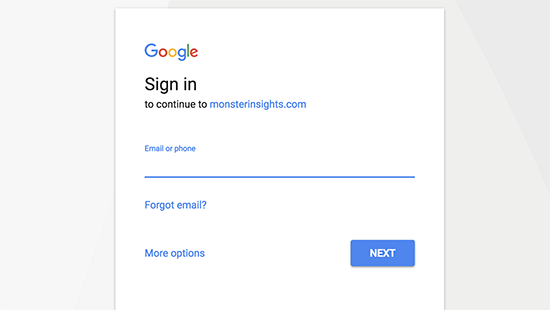 Google sign in page.