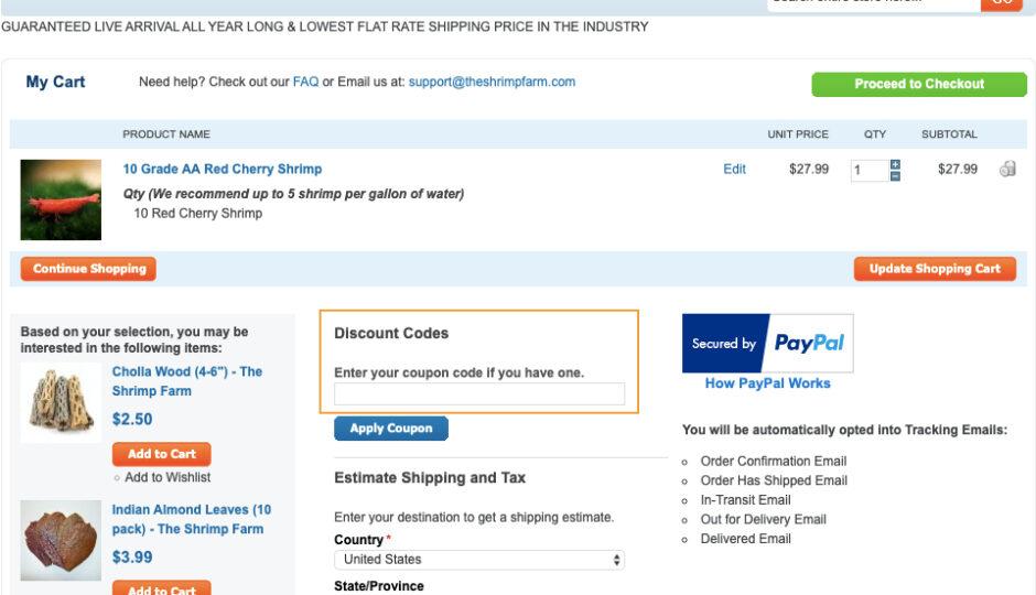 theshrimpfarm coupon page