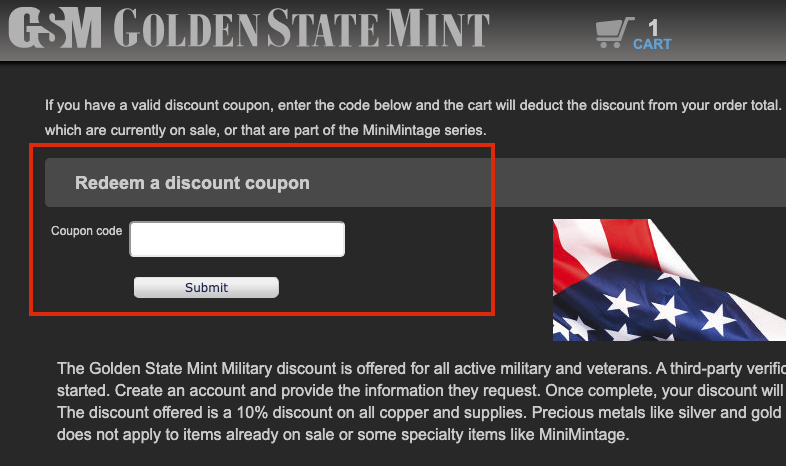 golden state mint check out page
