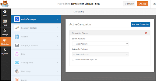 activecampaign newsletter sign up