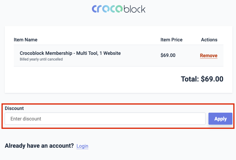 crocoblock check out page
