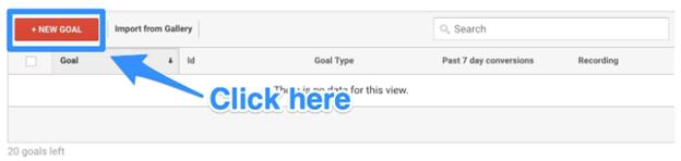 add new goal in google analytics