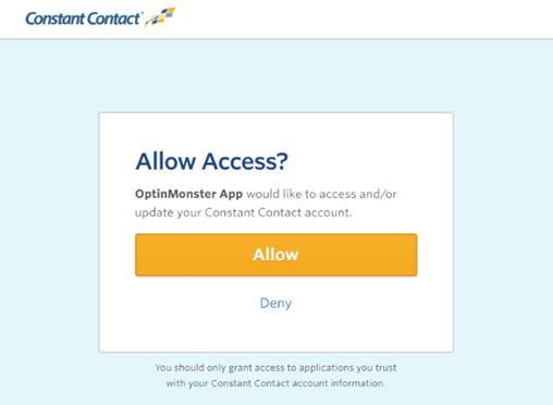 allow optinmonster to use constant contact