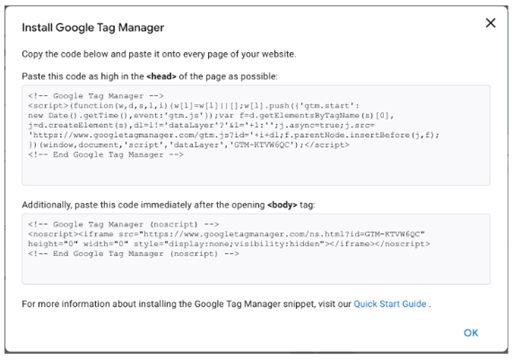 install google tag manager in website code