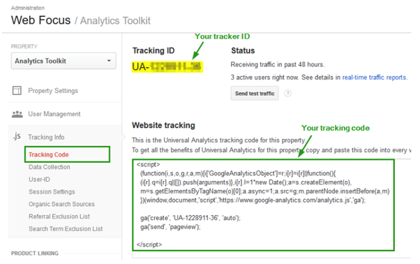 tracking ID from Google analytics