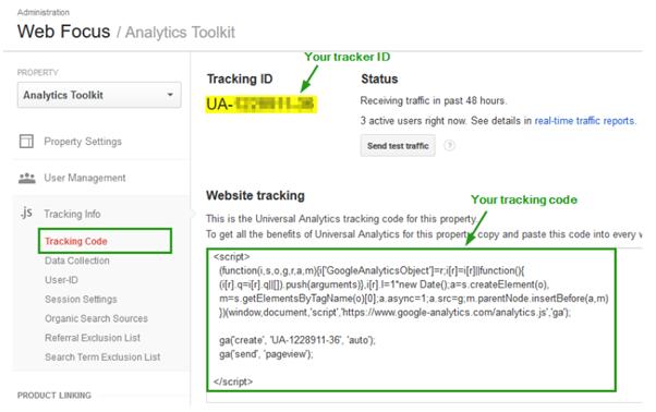 tracking ID from Google analytics