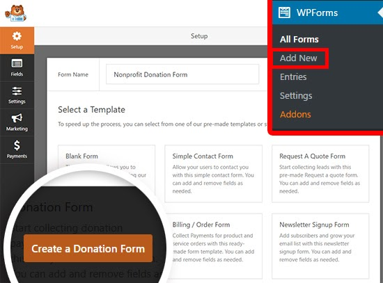 wpforms set up | add new form in wpforms