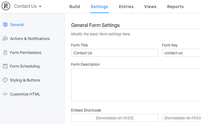 formidable forms contact settings