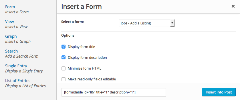 insert formidable form using short code builder