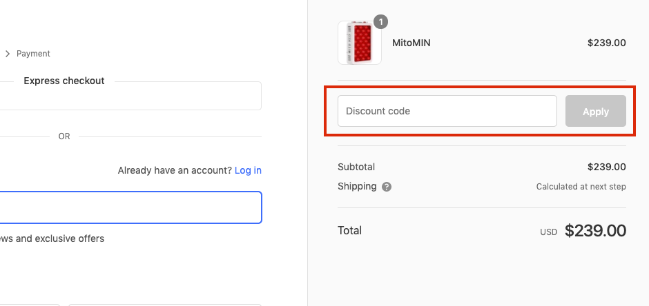mito red light checkout page