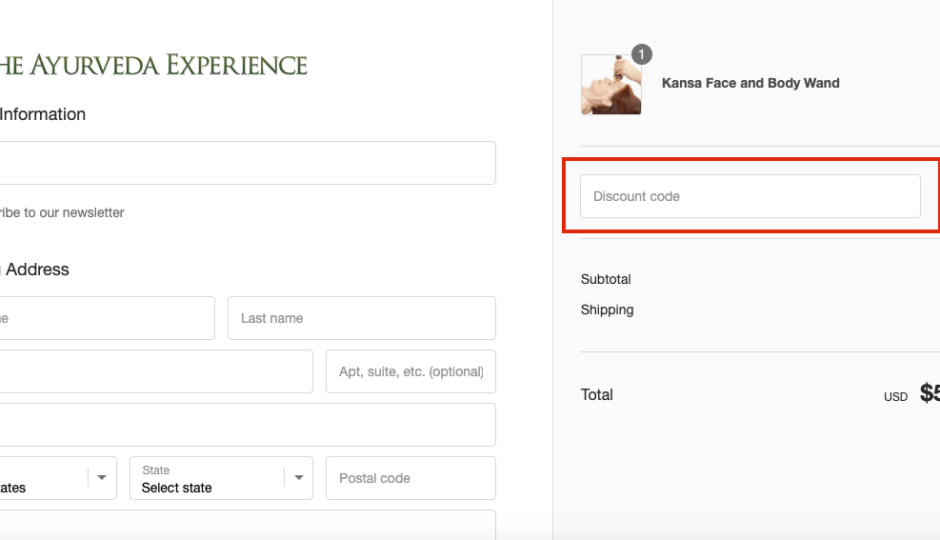 the ayurveda experience checkout page