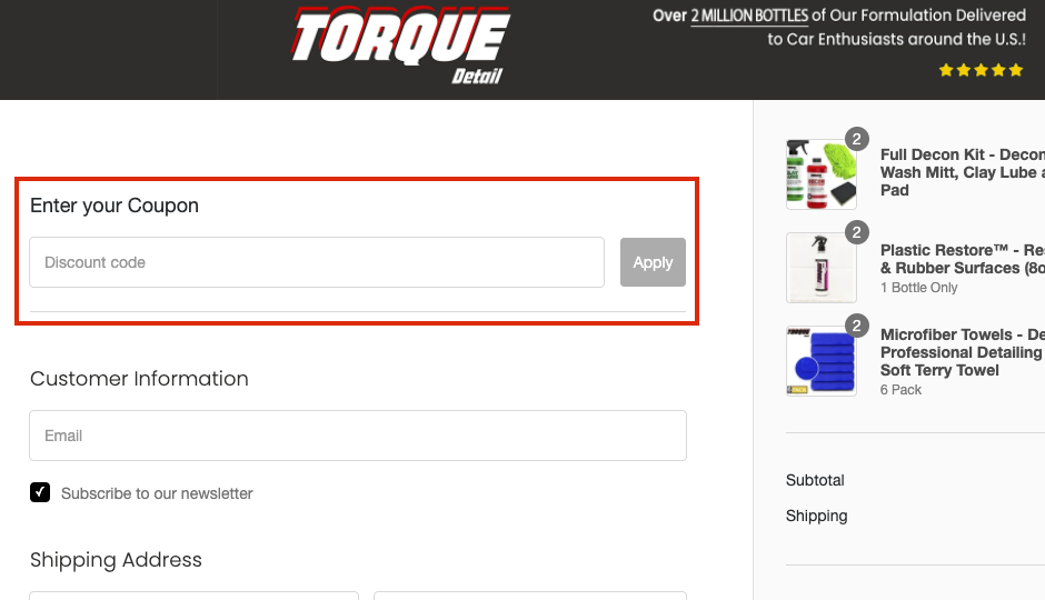 torque detail checkout page