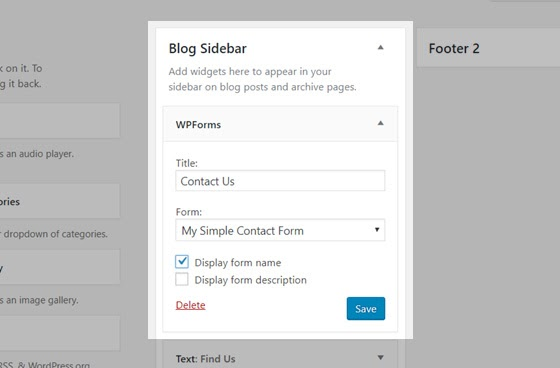 add contact form to sidebar