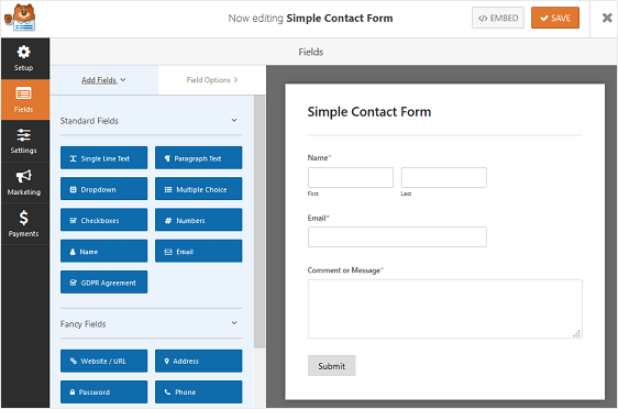 add form fields to wpforms contact form