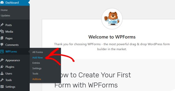 add new wpforms contact form