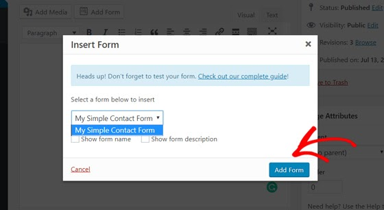 choose simple contact form in wordpress