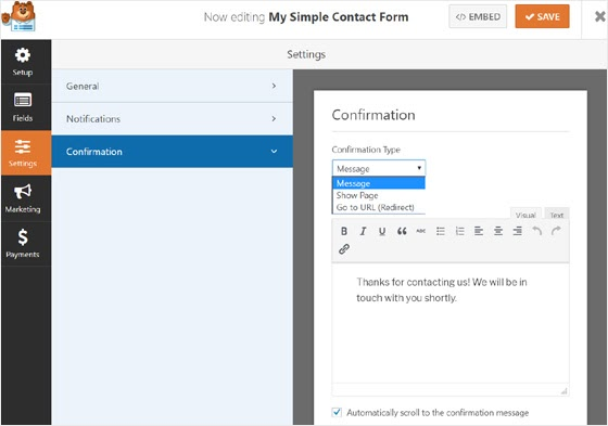 responsive mails from wpforms