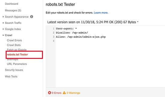 robots.txt file tester