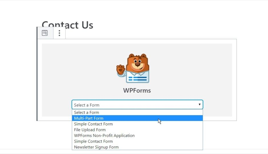 select multipart form from the form dropdown list