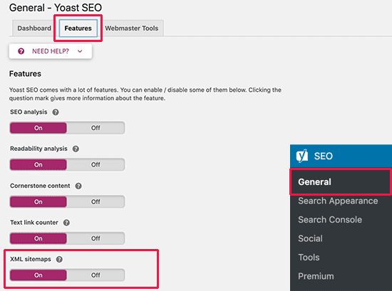 yoast seo plugin to create xml sitemaps