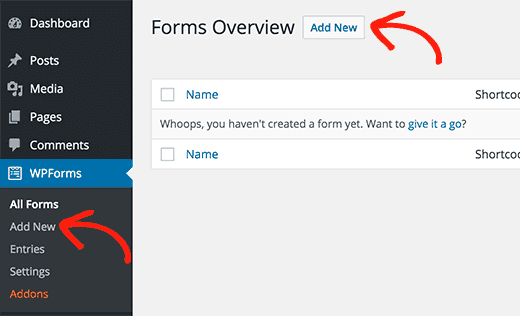 Add new contact forms with wpforms