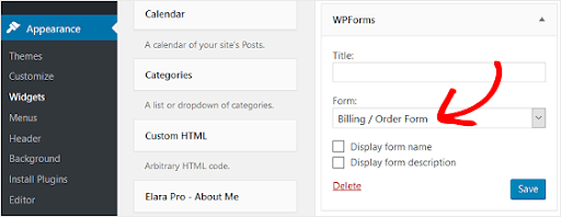 add order form to the sidebar in wordpress