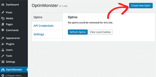 create new optin using optimonster