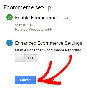 enable ecommerce setting in google analytics