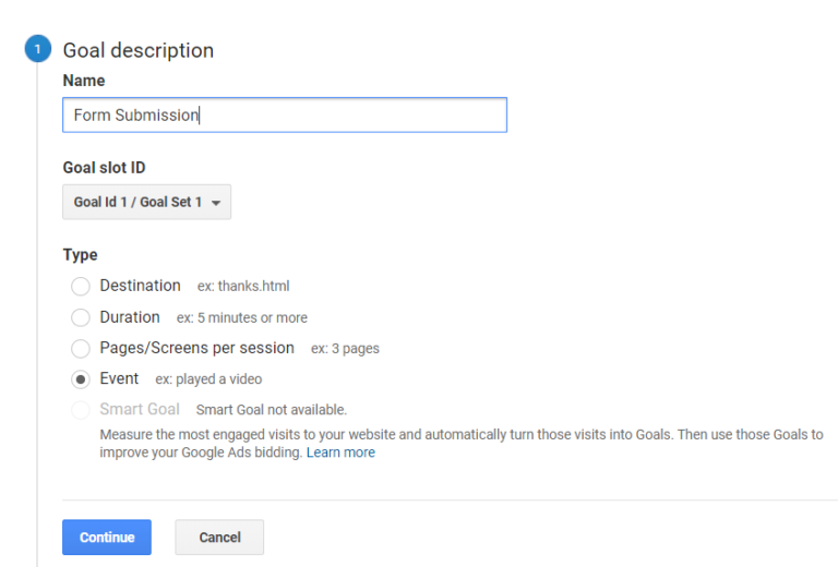 goal description in Google Analytics