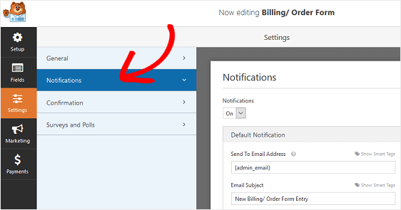 set notification of order forms in wordpress