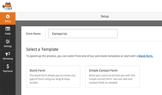 types of form templates in wpforms