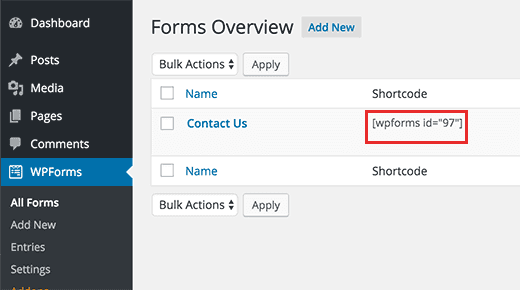 wpforms short code for contact forms