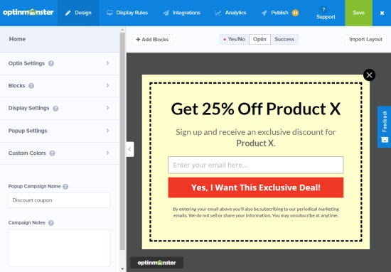 coupon pop up campaign in wordpress