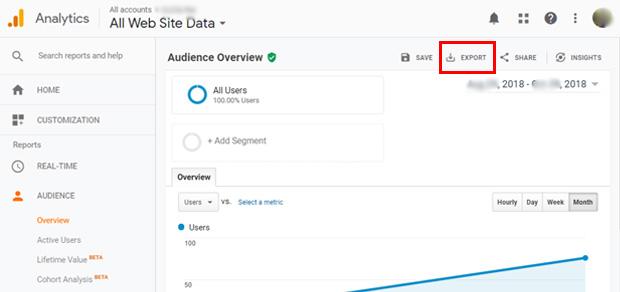 how to export google analytics report