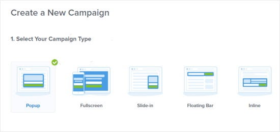type of popup campaigns in optinmonster