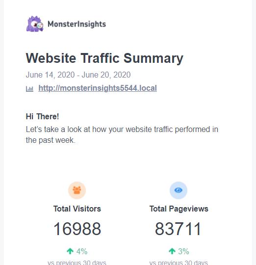 website traffic summary by monsterinsights