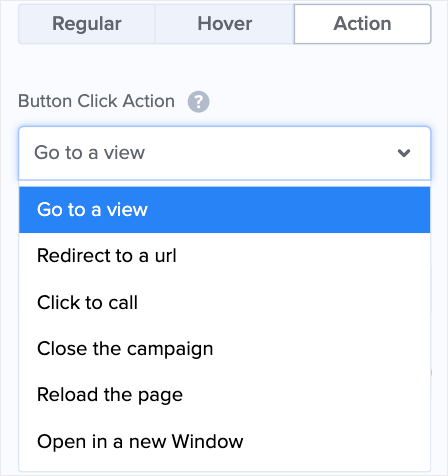 choose post click action of the multi step popups button