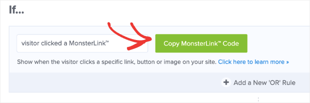 copy monsterlink code and add on multi-step popups