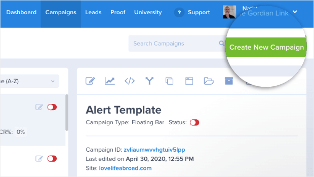 "you can create a campaign in optinmonster easily by clicking on the ""create new campaign"" button"