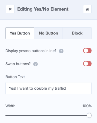customize yes and no button on multi step popups