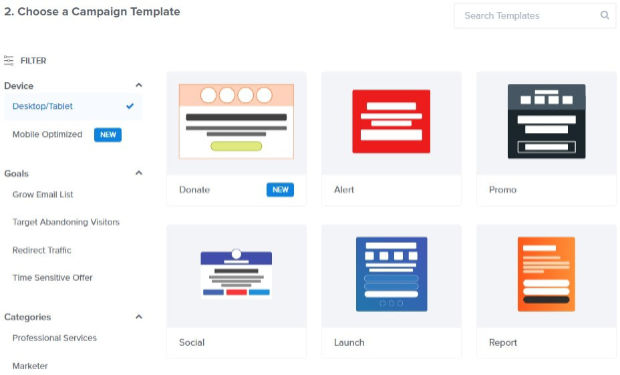 types of campaign templates in optinmonster