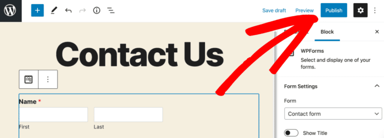 publish salesforce form to transfer contacts from wpforms