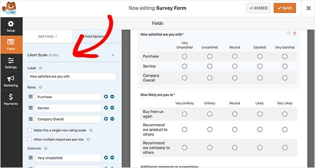 various form fields in wpforms survey forms