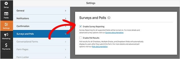 enable survey reporting in wpforms